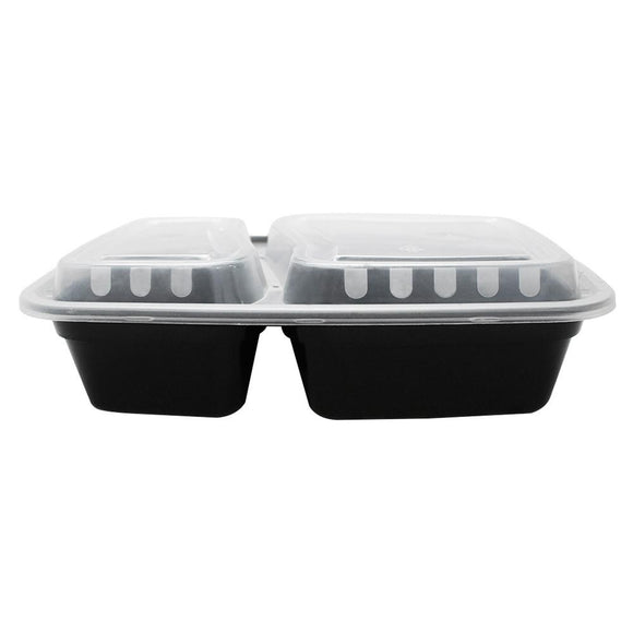 30oz PP Meal Prep Containers - Microwavable Rectangular Food Containers & Lids - Black - 2 Compartments - 150 ct-To-Go Packaging-Karat-Carry Out Supplies