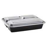 32oz Meal Prep Containers - Microwavable Rectangular Food Containers & Lids - Black - 3 Compartment Bento Box - 150 ct-Restaurant Supply Drop