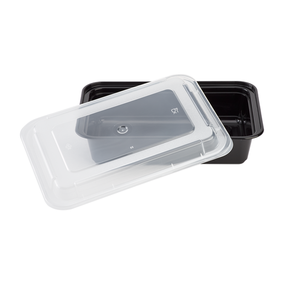 38oz Meal Prep Containers ~ Microwavable Rectangular Food Containers & Lids - Black - 150 ct-To-Go Packaging-Karat-Restaurant Supply Drop