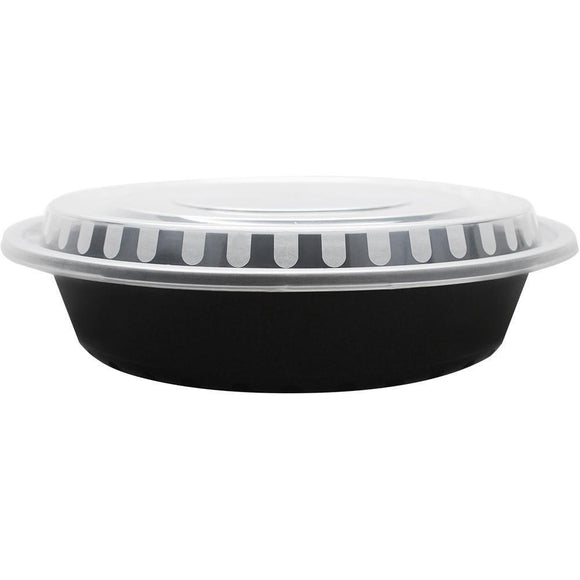 48oz PP Meal Prep Containers that are Microwavable Round Food Containers & Lids - Black - 150 ct-To-Go Packaging-Karat-Carry Out Supplies