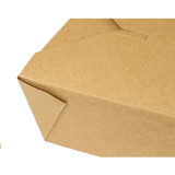 "Kraft Microwavable Folded Paper #8 Takeout Containers - Karat Fold-To-Go Box - 48oz - 5.9"" X 4.6"" X 2.4"" - 300 Count-Restaurant Supply Drop"