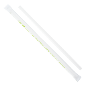 "White Paper Straws - Karat Earth 9"" Giant Paper Straw (7mm) Wrapped - White - 1,200 count-Restaurant Supply Drop"