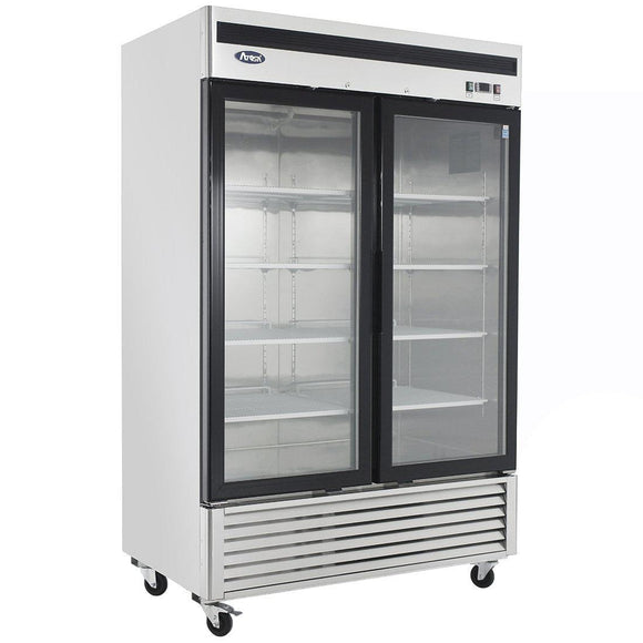 Atosa Bottom Mount Two Section Glass Door Reach-In Refrigerator MCF8707-Refrigeration Units-Karat-Carry Out Supplies