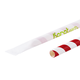 "Paper Straws - Karat Earth 9"" Giant Paper Spiral Straws (7mm) Wrapped - Red & White (1,200 ct)-Restaurant Supply Drop"