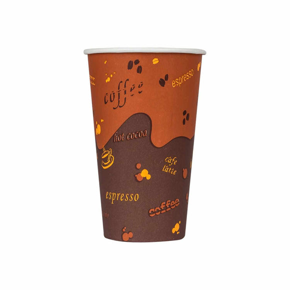 Cafe Coffee Cups | 16oz Stock Printed Paper Hot Cups (90mm) - 1,000 ct-Cups & Lids-Karat-No Lids-No Sleeves-Carry Out Supplies