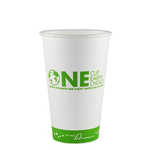 Compostable Coffee Cups - 16oz Eco-Friendly Paper Hot Cups - One Cup, One Earth (90mm) - 1,000 ct-Cups & Lids-Karat-Carry Out Supplies