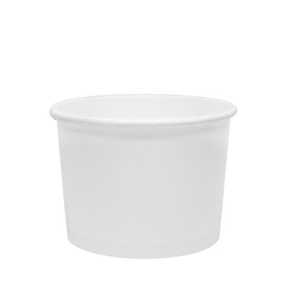 Custom Printed Paper Food Containers - 10oz White (96mm) - 30,000 ct-Custom-Karat-No Lids-1 Color-Carry Out Supplies
