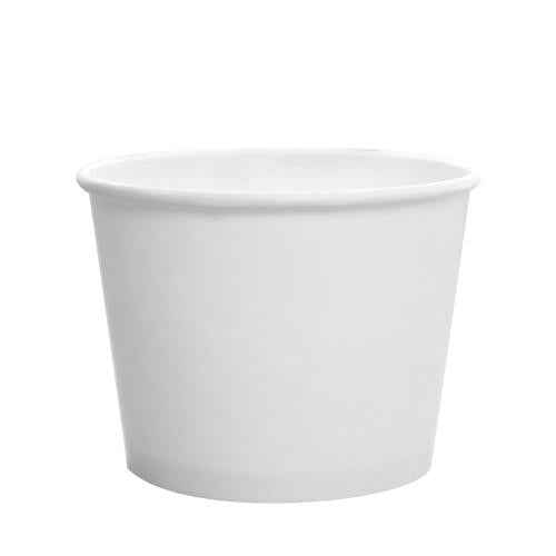 Custom Printed Paper Food Containers - 12oz White (100mm) - 30,000 ct-Custom-Karat-No Lids-1 Color-Carry Out Supplies