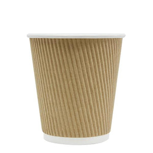 Disposable Coffee Cups - 10oz Ripple Paper Hot Cups - Kraft (90mm) - 500 ct-Cups & Lids-Karat-No Lids-No Sleeves-Carry Out Supplies