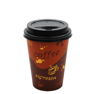 Disposable Coffee Cups - 12oz Generic Paper Hot Cups and Black Sipper Dome Lids (90mm)-Cups & Lids-Karat-Carry Out Supplies