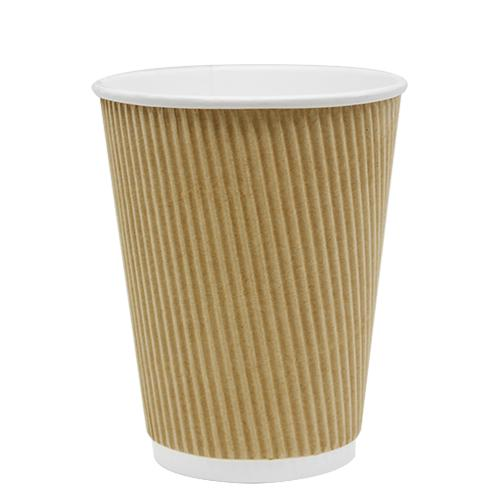 Disposable Coffee Cups - 12oz Ripple Paper Hot Cups - Kraft (90mm) - 500 ct-Cups & Lids-Karat-No Lids-No Sleeves-Carry Out Supplies