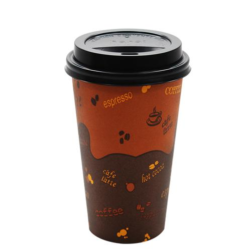 Disposable Coffee Cups - 16oz Generic Paper Hot Cups and Black Sipper Dome Lids (90mm)-Cups & Lids-Karat-Carry Out Supplies