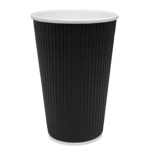 Disposable Coffee Cups - 16oz Ripple Paper Hot Cups - Black (90mm) - 500 ct-Cups & Lids-Karat-No Lids-No Sleeves-Carry Out Supplies