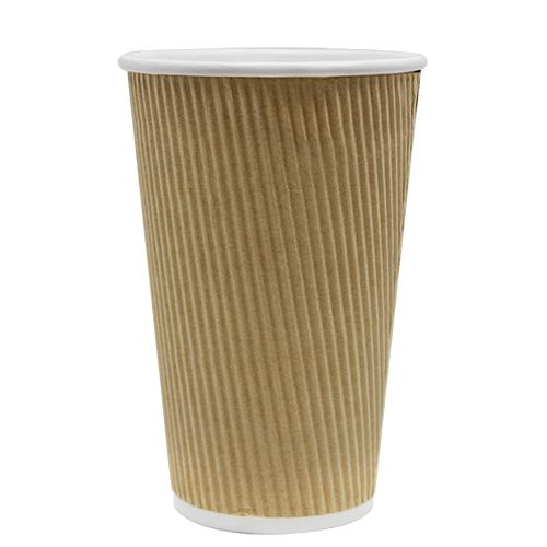Disposable Coffee Cups - 16oz Ripple Paper Hot Cups - Kraft (90mm) - 500 ct-Cups & Lids-Karat-No Lids-No Sleeves-Carry Out Supplies