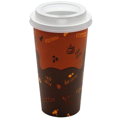 Disposable Coffee Cups - 20oz Generic Paper Hot Cups and White Sipper Dome Lids (90mm)-Cups & Lids-Karat-Carry Out Supplies