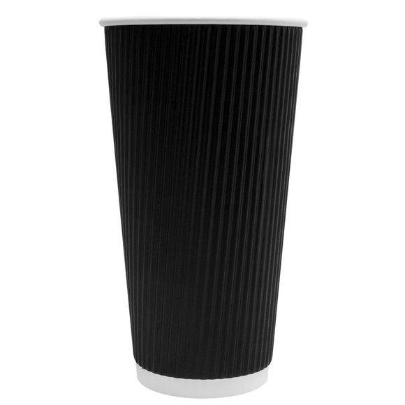Disposable Coffee Cups - 20oz Ripple Paper Hot Cups - Black (90mm) - 500 ct-Cups & Lids-Karat-No Lids-No Sleeves-Carry Out Supplies