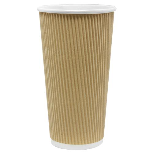 Disposable Coffee Cups - 20oz Ripple Paper Hot Cups - Kraft (90mm) - 500 ct-Cups & Lids-Karat-No Lids-No Sleeves-Carry Out Supplies