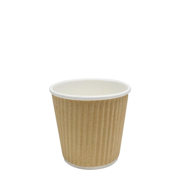 Disposable Coffee Cups - 4oz Ripple Paper Hot Cups - Kraft 62mm) - 500 ct-Cups & Lids-Karat-Carry Out Supplies