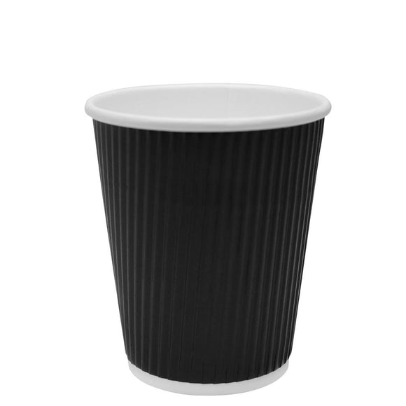 Disposable Coffee Cups - 8oz Ripple Paper Hot Cups - Black (80mm) - 500 ct-Cups & Lids-Karat-Carry Out Supplies