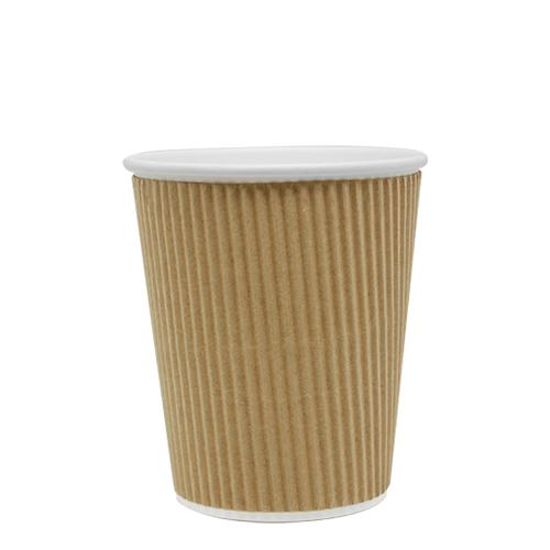Disposable Coffee Cups - 8oz Ripple Paper Hot Cups - Kraft (80mm) - 500 ct-Cups & Lids-Karat-Carry Out Supplies