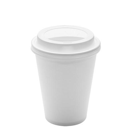 Disposable Paper Coffee Cups with Lids - 12 oz White with White Sipper Dome Lids (90mm)-Cups & Lids-Karat-Carry Out Supplies