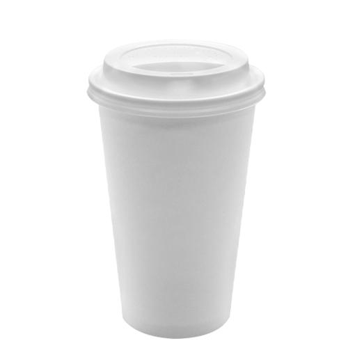 Disposable Paper Coffee Cups with Lids - 16 oz with White Sipper Dome Lids (90mm)-Cups & Lids-Karat-Carry Out Supplies