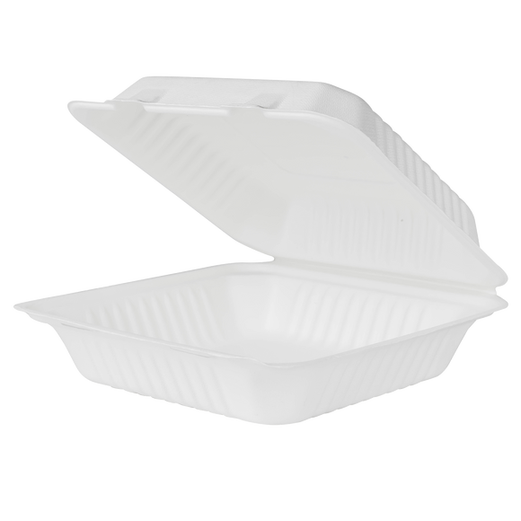 Extra Large Compostable Food Container - Karat Earth 9x9 Bagasse Containers - 200 ct-Restaurant Supply Drop