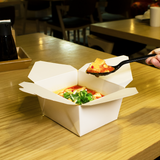 "White Microwavable Folded Paper #1 Takeout Boxes - Karat Small Fold-To-Go Container - 30oz - 4.3"" X 3.5"" X 2.4"" - 450 Count-Restaurant Supply Drop"