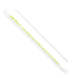 "PLA Straws - Karat Earth 7.75"" Jumbo PLA Clear Wrapped Straws 2,000-Restaurant Supply Drop"