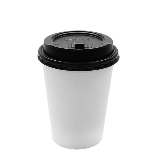 Karat 12oz White Paper Hot Cups and Black Enclosure Lids (90mm)-Cups & Lids-Karat-Carry Out Supplies