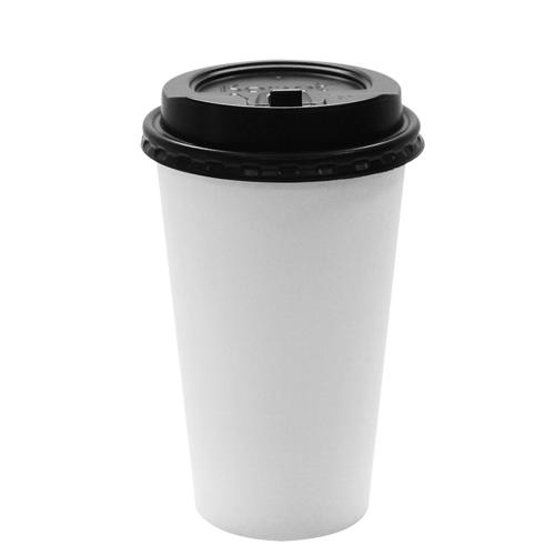 Karat 16oz White Paper Hot Cups and Black Enclosure Lids (90mm)-Cups & Lids-Karat-Carry Out Supplies