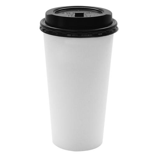 Karat 20oz White Paper Hot Cups and Black Enclosure Lids (90mm)-Cups & Lids-Karat-Carry Out Supplies