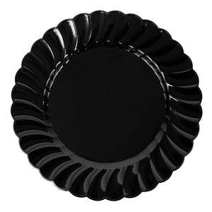 "Karat 9"" PS Scalloped Plate - Black - 120 ct-Bowls & Plates-Karat-Carry Out Supplies"