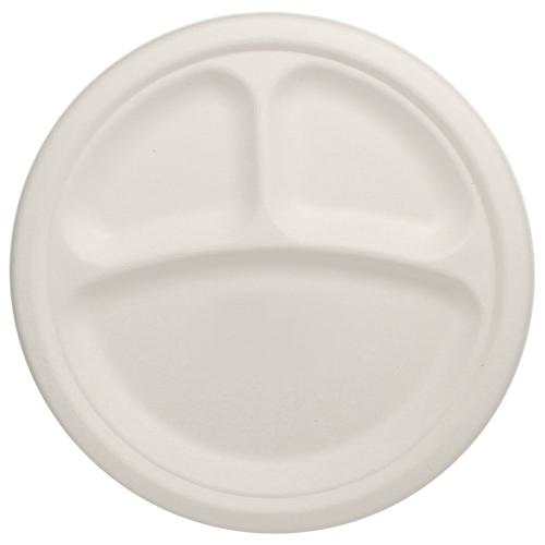 Karat Earth 10'' Compostable Bagasse Round Plates - 3 Compartments - 500 ct-Bowls & Plates-Karat-Carry Out Supplies