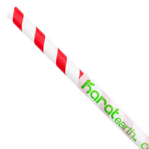 "Karat Earth 10.25"" Giant Paper Spiral Straws (7mm) Wrapped - Red & White (1,200 ct)-Paper Straws-Restaurant Supply Drop-Carry Out Supplies"