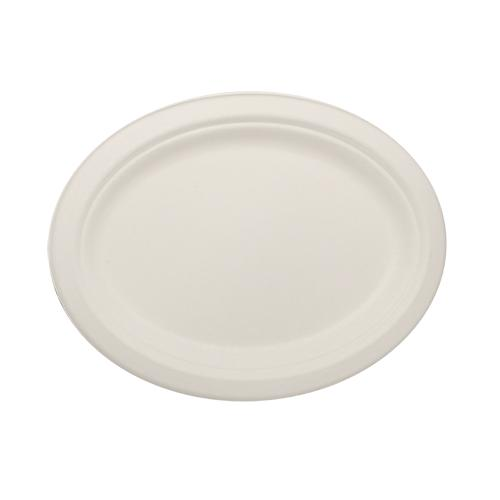 Karat Earth 10''x8'' Compostable Bagasse Oval Plates - 500 ct-Bowls & Plates-Karat-Carry Out Supplies
