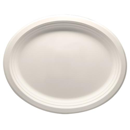 Karat Earth 12.5''x10'' Compostable Bagasse Oval Plates - 500 ct-Bowls & Plates-Karat-Carry Out Supplies