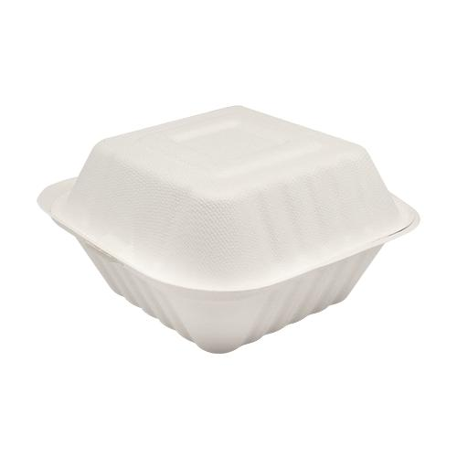 Karat Earth 6''x6'' Compostable Bagasse Hinged Containers - 500 ct-To-Go Packaging-Karat-Carry Out Supplies