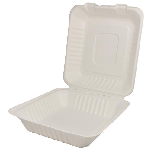 Karat Earth 8''x8'' Compostable Bagasse Hinged Containers - 200 ct-To-Go Packaging-Karat-Carry Out Supplies