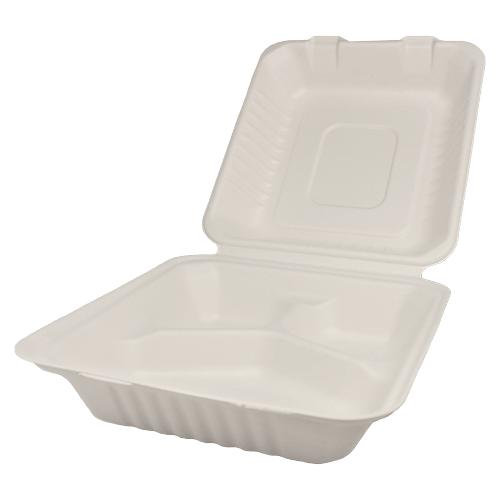 Karat Earth 8''x8'' Compostable Bagasse Hinged Containers - 3 Compartments - 200 ct-To-Go Packaging-Karat-Carry Out Supplies