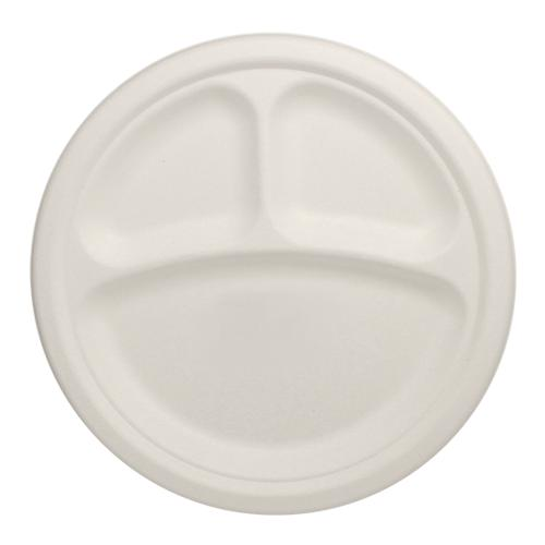 Karat Earth 9'' Compostable Bagasse Round Plates - 3 Compartments - 500 ct-Bowls & Plates-Karat-Carry Out Supplies