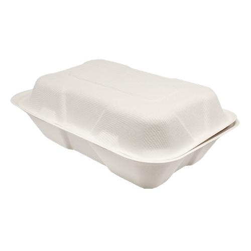 Karat Earth 9''x6'' Compostable Bagasse Hinged Containers - 200 ct-To-Go Packaging-Karat-Carry Out Supplies
