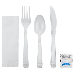 Karat PP Heavy Weight Cutlery Kits with Salt and Pepper - White - 250 ct-Utensils-Karat-Carry Out Supplies