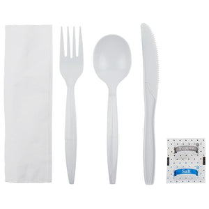 Karat PP Medium-Heavy Weight Cutlery Kits with Salt and Pepper - White - 250 ct-Utensils-Karat-Carry Out Supplies