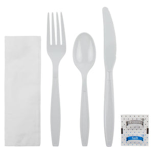 Karat PS Heavy Weight Cutlery Kits with Salt and Pepper - White - 250 ct-Utensils-Karat-Carry Out Supplies