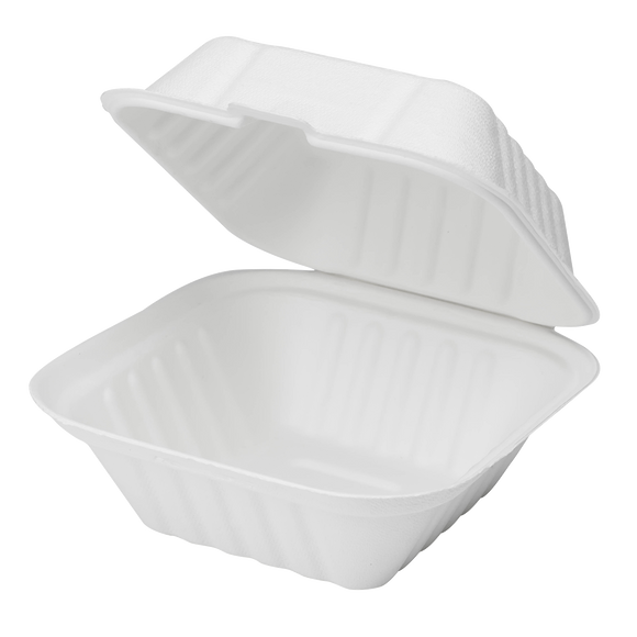 Karat Earth 6''x6'' Compostable Bagasse Hinged Containers - 500 ct