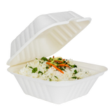 Small Compostable Food Containers - Karat Earth 6''x6'' Compostable Bagasse Hinged Containers - 500 ct-Restaurant Supply Drop