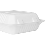 Large Compostable Food Containers - Karat Earth 8''x8'' Compostable Bagasse Hinged Containers - 200 ct-Restaurant Supply Drop