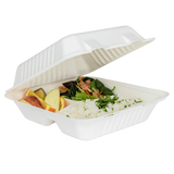 Large Compostable 3 Compartment Food Containers - Karat Earth 8''x8'' Bagasse Hinged Boxes - 200 ct-Restaurant Supply Drop