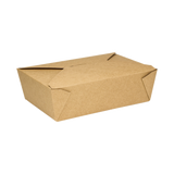 "Kraft Microwavable Folded Paper #3 Take-Out Container - Karat Large Fold-To-Go Box - 76oz - 7.8"" X 5.5"" X 2.4"" - 200 Count-Restaurant Supply Drop"